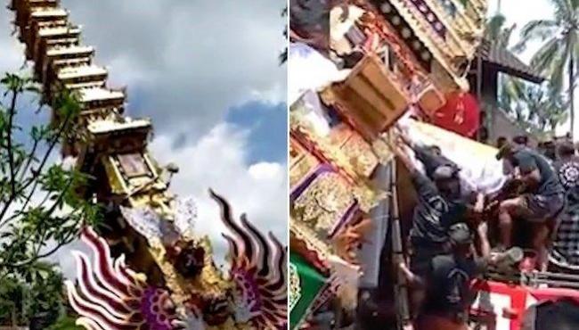 Torre de caixão de 9 metros desmorona durante funeral